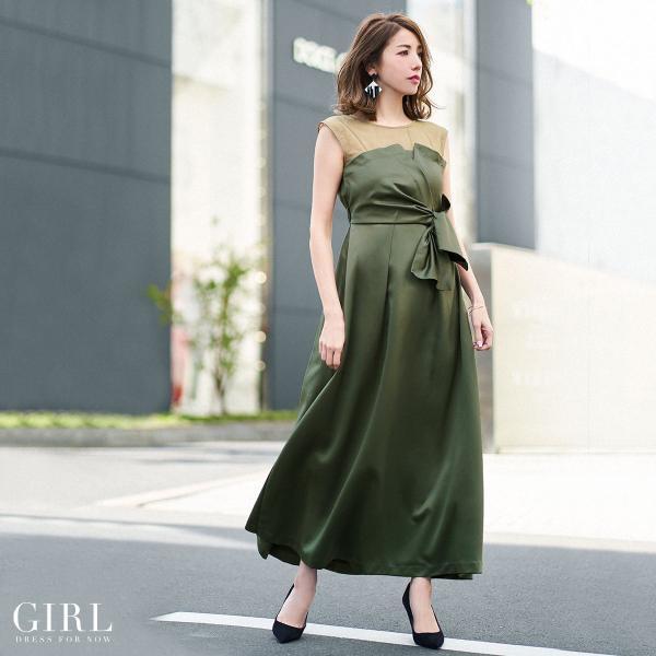 ドレス ワンピース パーティードレス 大きいサイズ お呼ばれ 20代 30代 40代 50代 結婚式 ドレス 二次会 レディース ノースリーブ ロングドレス モデル美香着用|girl-k|24