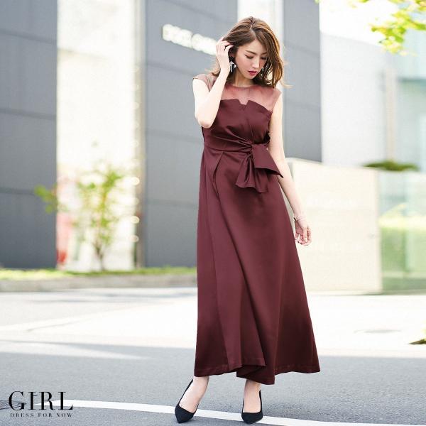 ドレス ワンピース パーティードレス 大きいサイズ お呼ばれ 20代 30代 40代 50代 結婚式 ドレス 二次会 レディース ノースリーブ ロングドレス モデル美香着用|girl-k|22