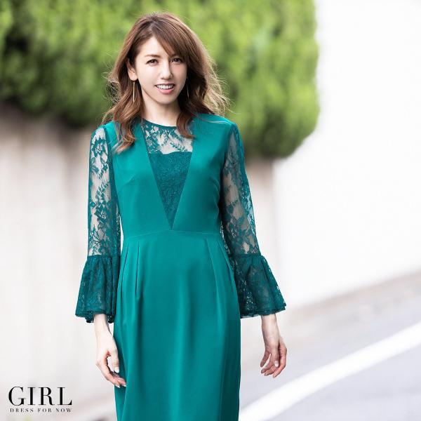 結婚式 ワンピース パーティードレス 袖あり 袖レース レース 大きいサイズ ネイビー 紺 膝丈 ドレス ゆったり 小さいサイズ 30代 40代 長袖 お呼ばれ girl-k 22