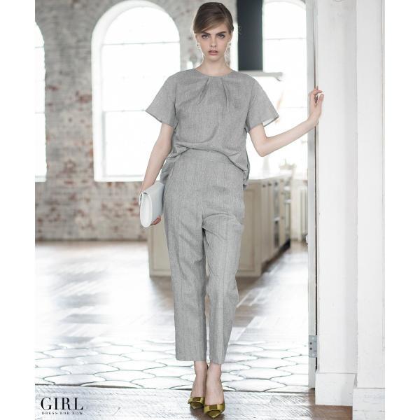 2/17まで 50%OFFクーポン利用で6990円 パーティードレス セットアップ パンツスタイル パンツドレス 結婚式 大きいサイズ ロング パンツ 2点セット|girl-k|21
