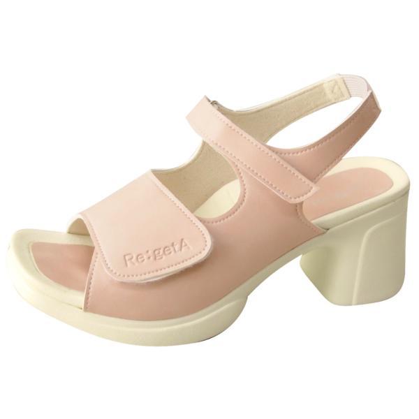 リゲッタ ナース サンダル レディース 黒 白 太ヒール ストラップ ベルト ベルクロ sandal|gjweb|20