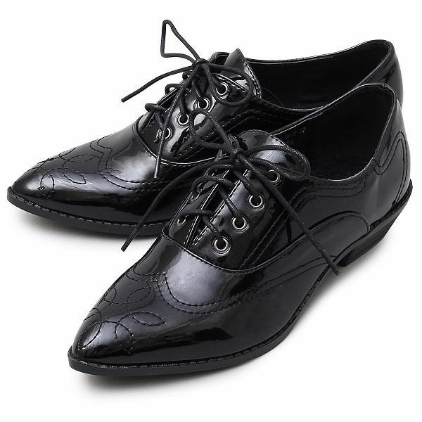 レースアップシューズ レディース オックスフォード ウィングチップ おじ靴 エナメル|glabella|18