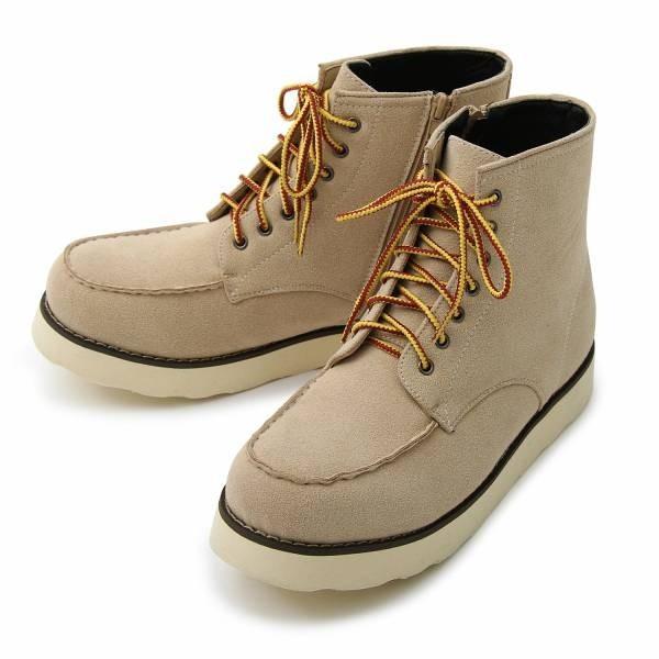 ワークブーツ メンズ フェイクレザー 7ホール サイドジップ付き ショートブーツ 身長アップ 6cmアップ シークレットシューズ 靴 ブーツ|glabella|16