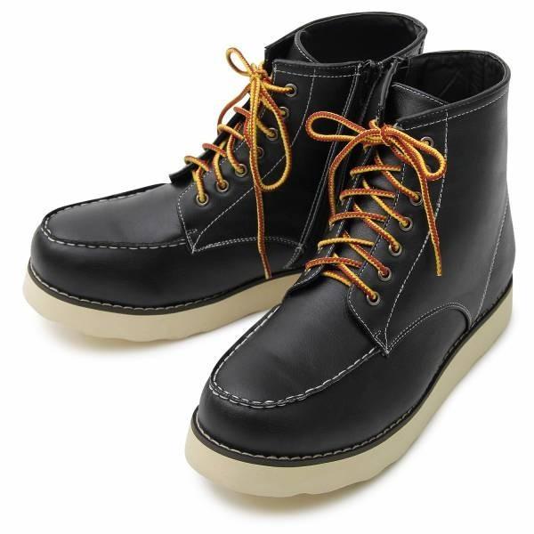 ワークブーツ メンズ フェイクレザー 7ホール サイドジップ付き ショートブーツ 身長アップ 6cmアップ シークレットシューズ 靴 ブーツ|glabella|15