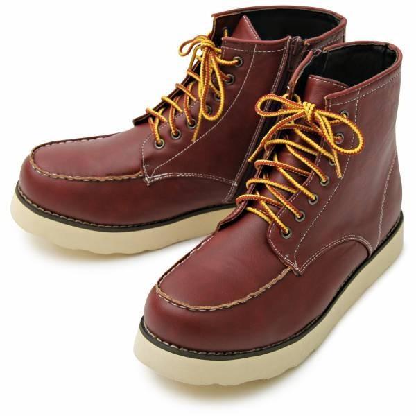 ワークブーツ メンズ フェイクレザー 7ホール サイドジップ付き ショートブーツ 身長アップ 6cmアップ シークレットシューズ 靴 ブーツ|glabella|17
