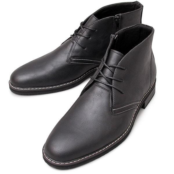 チャッカブーツ メンズ サイドジップ ミドルカット ショートブーツ 紐靴|glabella|18