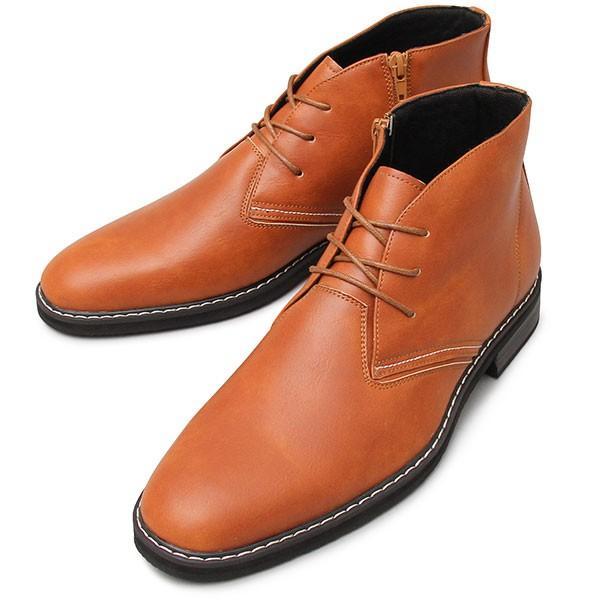 チャッカブーツ メンズ サイドジップ ミドルカット ショートブーツ 紐靴|glabella|20