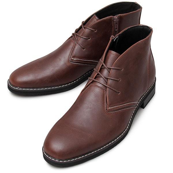 チャッカブーツ メンズ サイドジップ ミドルカット ショートブーツ 紐靴|glabella|19