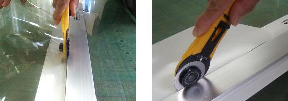 軽く押すだけで速やかに切れます。カッターです刃の近くに指を添えないで下さい。
