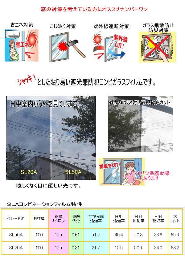 遮光と軽防犯の兼用コンビフィルム SL20/SL50