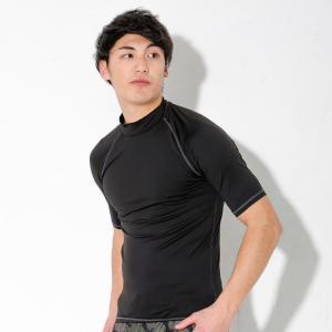ラッシュガード Tシャツ 半袖 メンズ UV98%カット 大きいサイズ UPF50+ 紫外線対策 スタンドカラー 水陸両用|GO!ISLAND