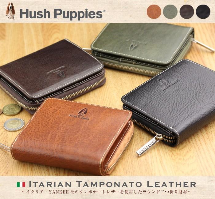 2f802a75b79b ... 二つ折り財布 メンズ Hush Puppies ハッシュパピー 本革 ラウンドファスナー