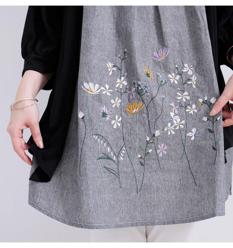 花柄刺繍カーデフェイクチュニック
