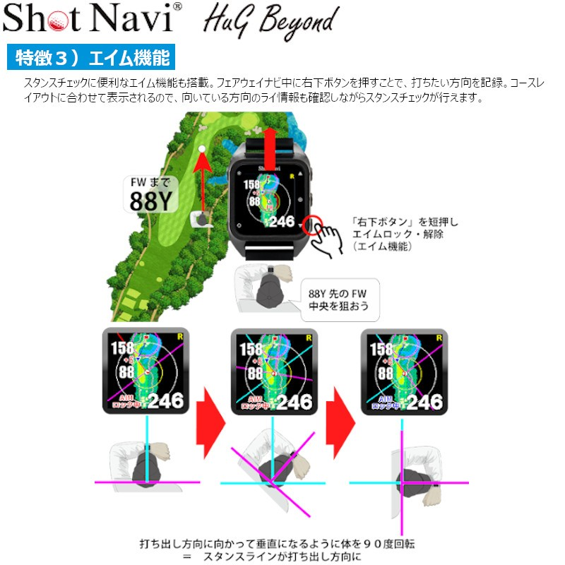 Shot Navi Hug Beyond(A Next Generation Color GPS GOLF Watch)GOLF NAVI