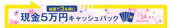 現金5万円キャッシュバック