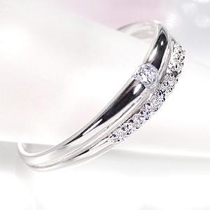 商品画像1 pt900【0.1ctUP】 重ねづけ風 ダイヤモンド リング