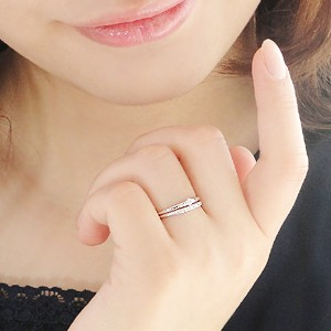 商品画像3 pt900【0.1ctUP】 重ねづけ風 ダイヤモンド リング