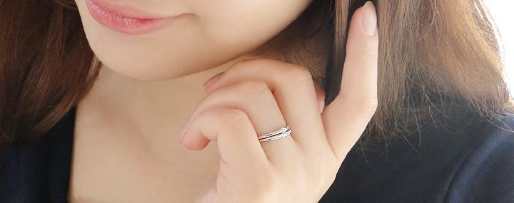 pt900【0.1ctUP】 重ねづけ風 ダイヤモンド リング