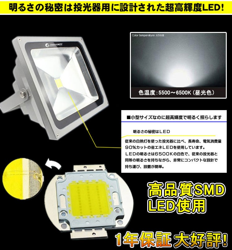 明るい 投光器 2年保証