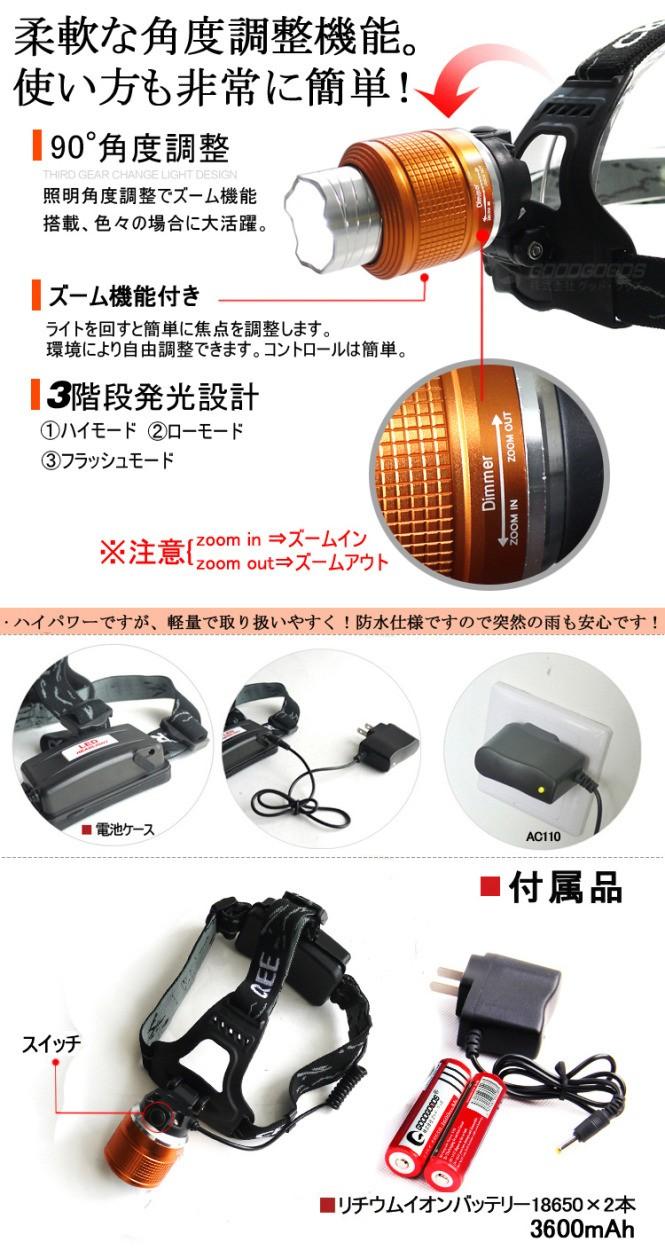 LEDヘッドライト 懐中電灯 ヘッドランプ 1800lm 強力 ズーム機能 3モード zoom 軽量
