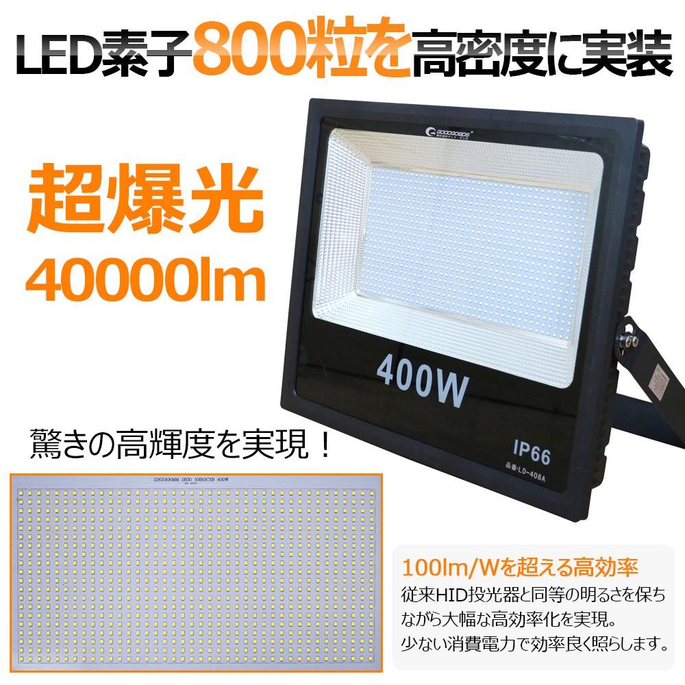 超爆光 led投光器 400w 4000w相当 ハロゲン代替品 消費電力 800粒チップ