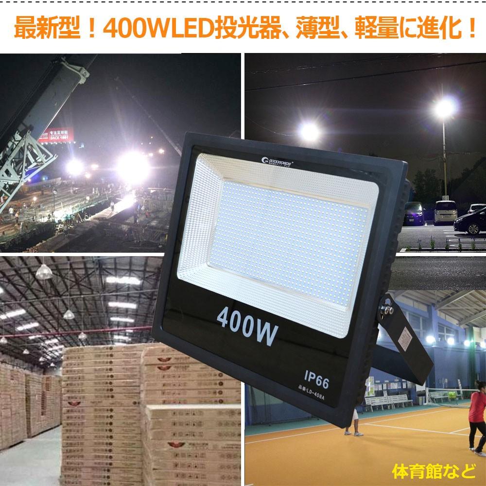 超爆光 led投光器 最新型 400wled投光器 高輝度 薄型 コンパクト ac100v 家庭用電源対応