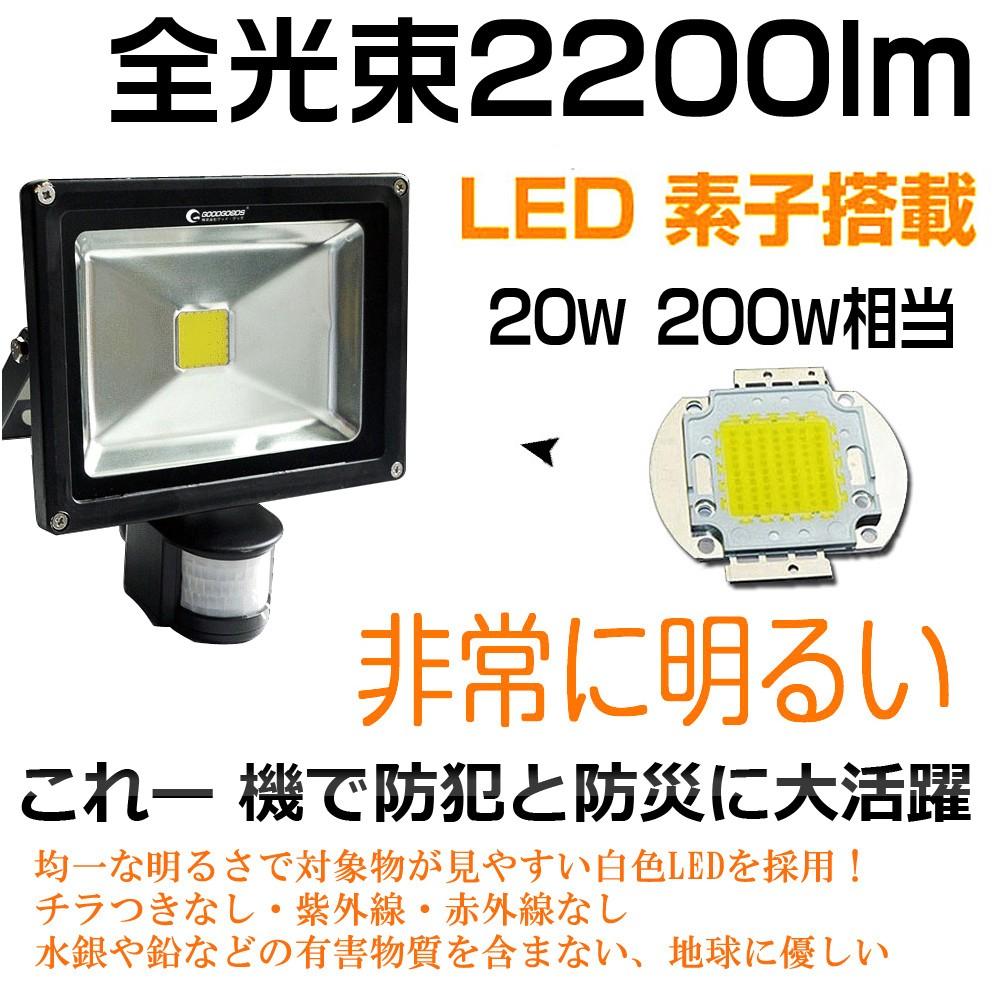 LEDソーラーセンサーライト 20W 防犯灯 駐車場灯