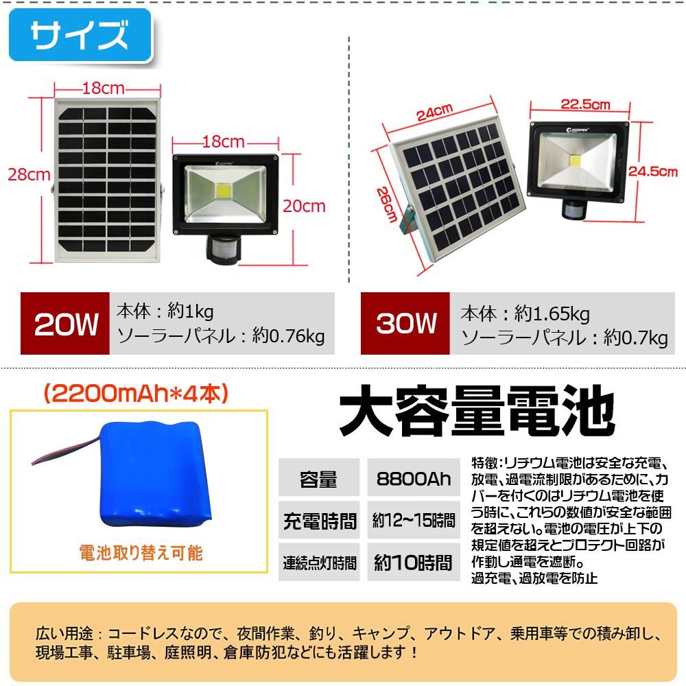 高輝度 ソーラー式ライト LEDライト 太陽光発電 大容量電池 玄関灯