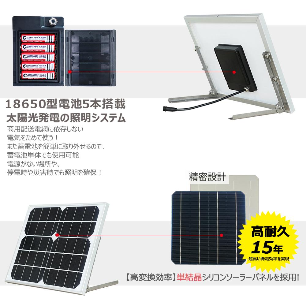 LED投光器 20w 太陽光発電 ソーラーライト 電池切替可能 18650型電池3本使用