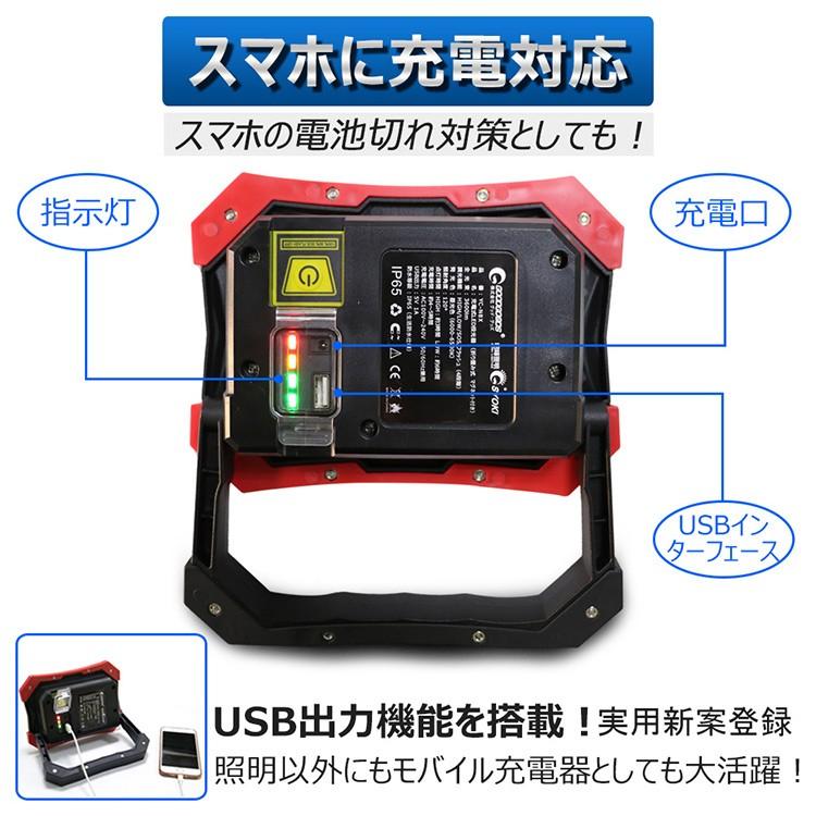 led作業灯 20w コードレス 投光器 ledライト マグネット付