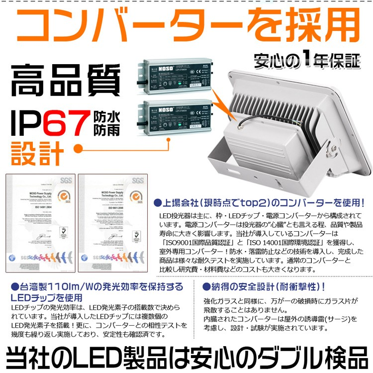 LED投光器 150w 1500W 防水 作業灯