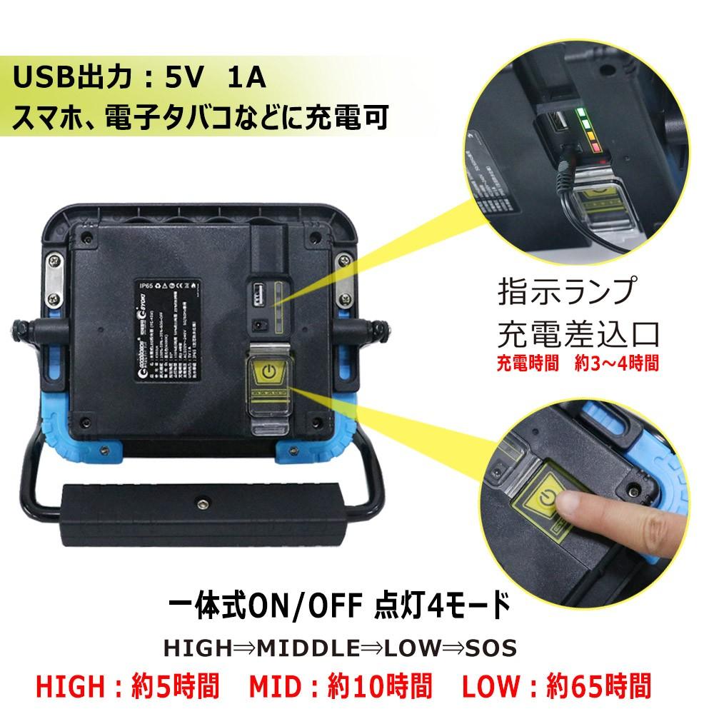 led作業灯 45w コードレス 投光器 ledライト マグネット付