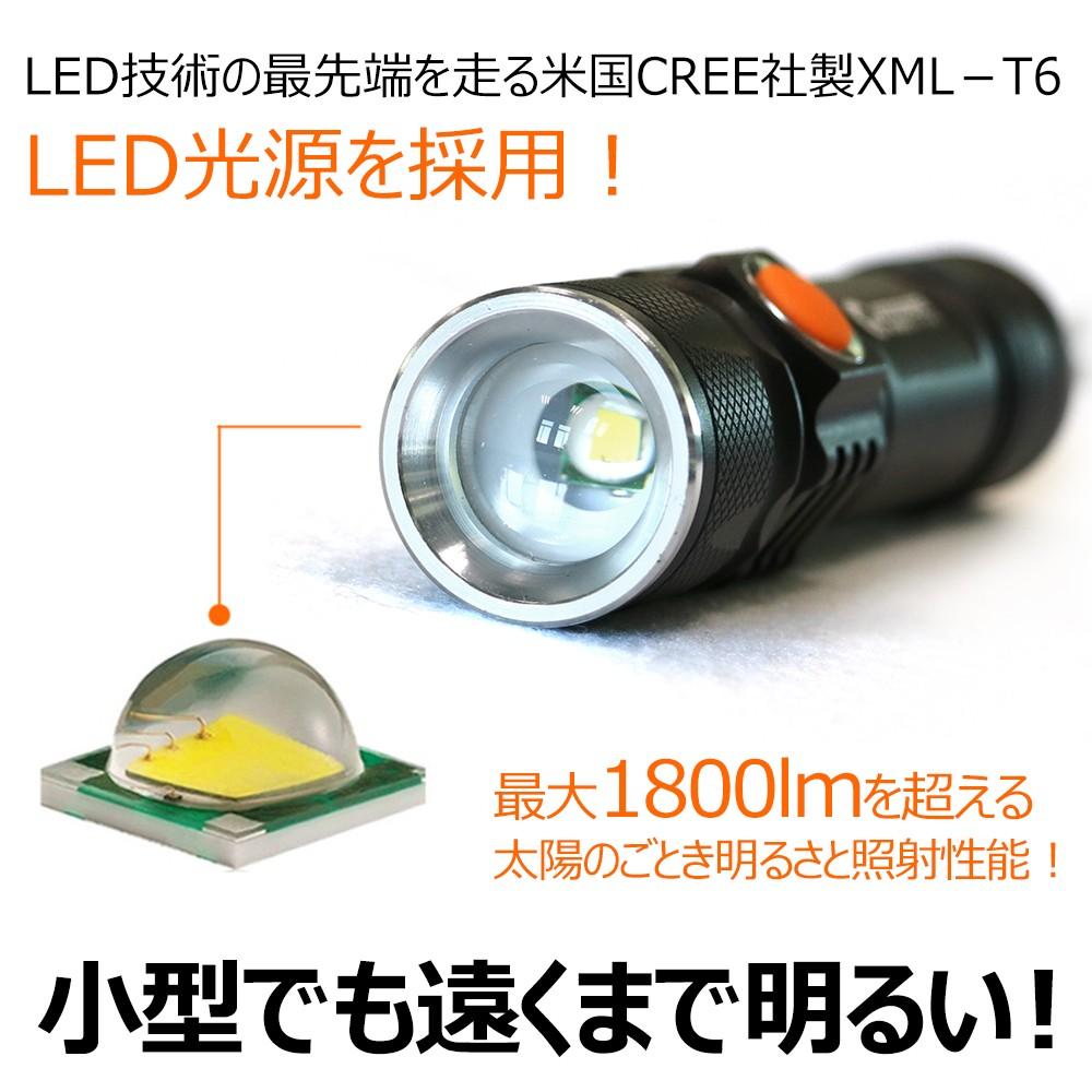 LED 懐中電灯 usb充電 超強力 1800lm 充電式 ライト 防災グッズ cree