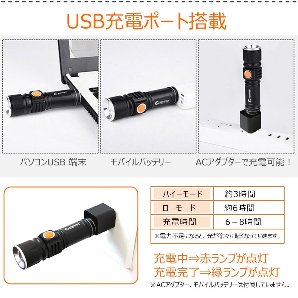 懐中電灯 強力 1800lm 充電式 ライト 地震・災害対策