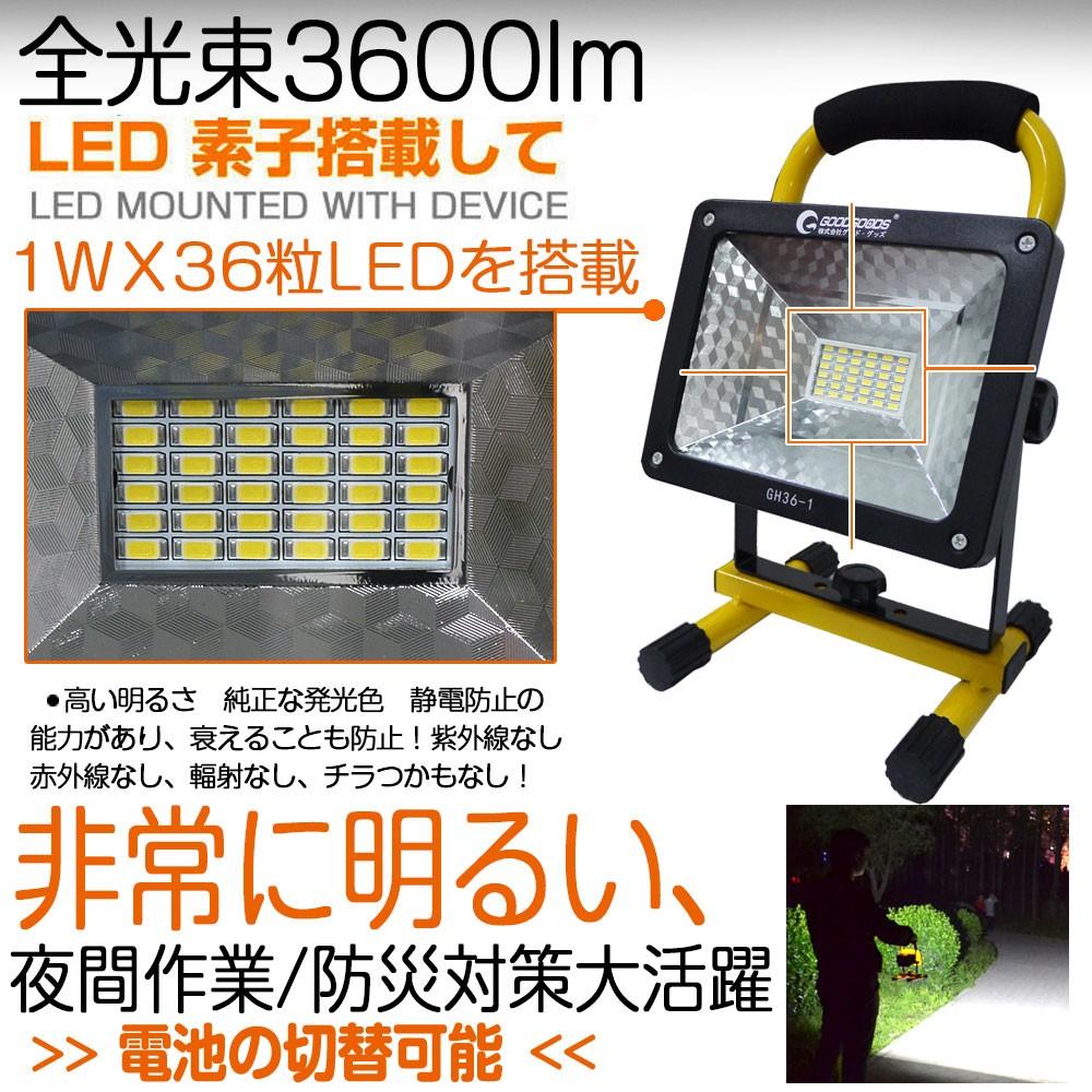 充電式LED投光器 作業灯 携帯式 防災 広角 看板灯