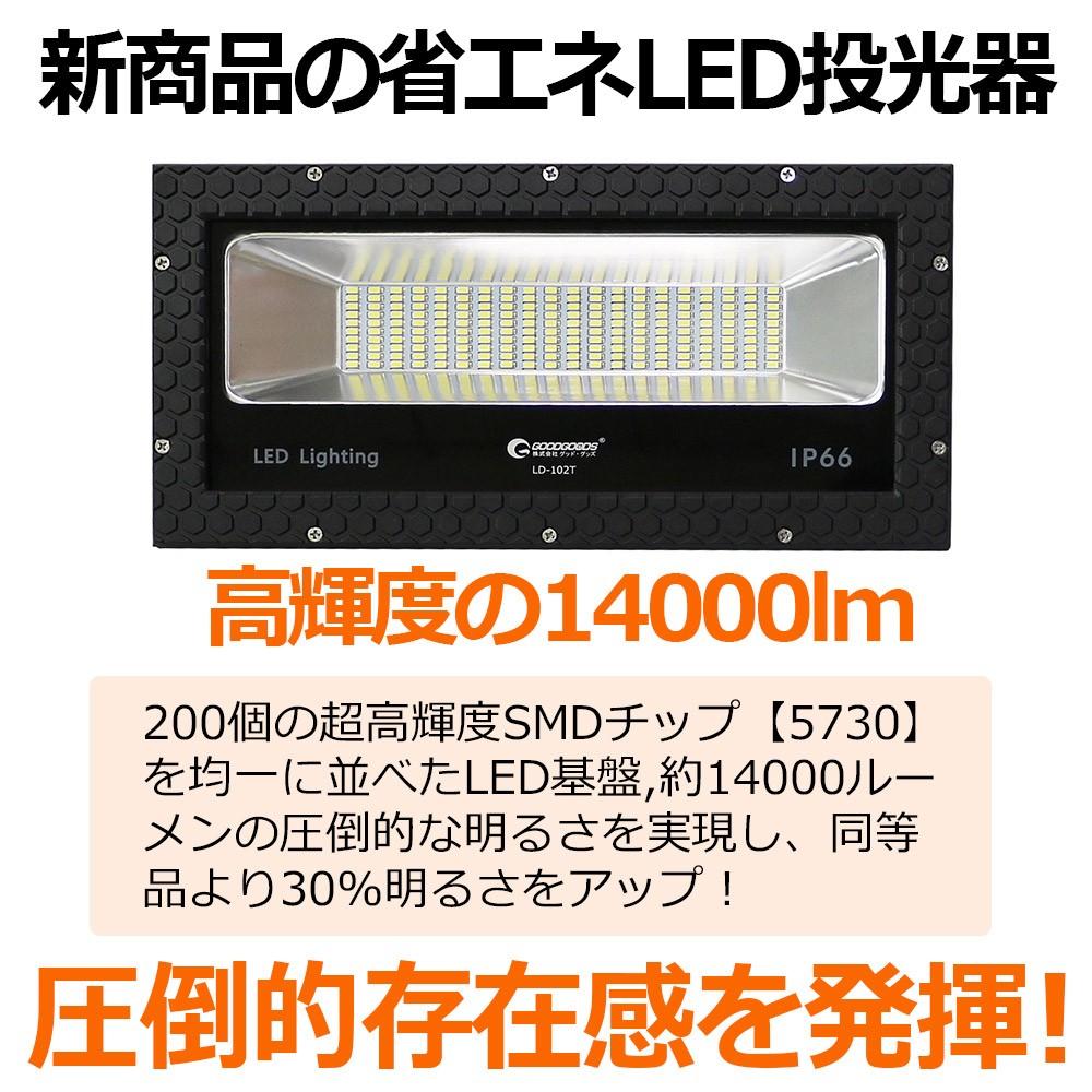 LED投光器 100w 屋外照明 投光器 充電式 ledライト 看板照明