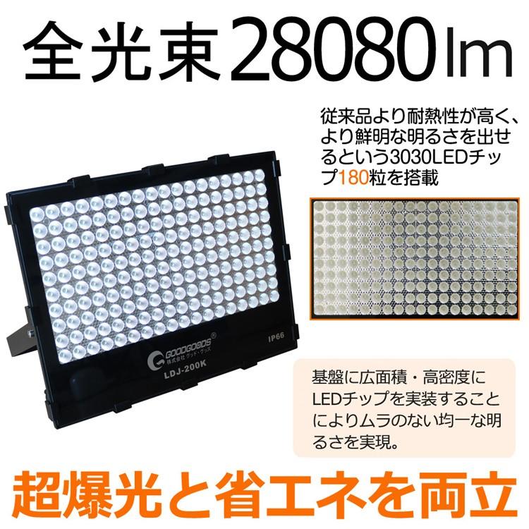 投光器 led 200W 2000W相当 28080lm 作業灯