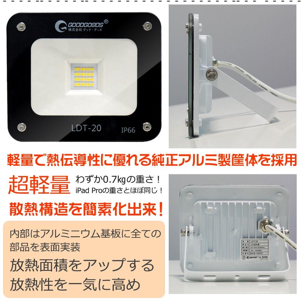 LED投光器 20W 200W相当 LEDライト 作業灯 集魚灯 昼光色 6000ケルビン