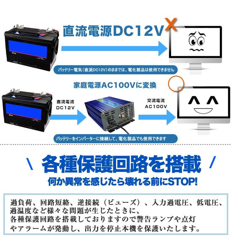 純正弦波インバーター 直流電源DC12V 交流AC100/110V 家庭用電源 バッテリー 電気 2000W 発電機 非常用電源