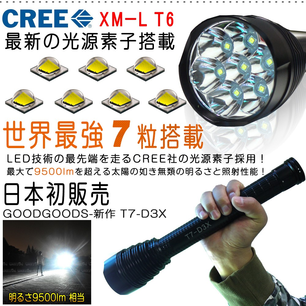 最強 led懐中電灯 CREE社製XML-T6*7 9500lm 5モード切替 緊急用ライト