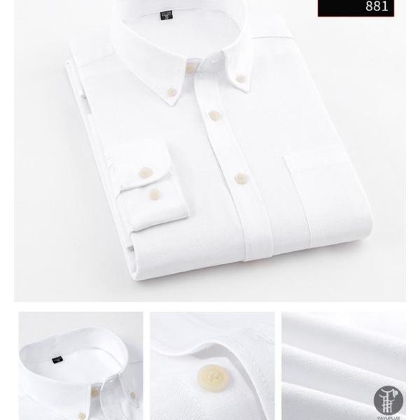 オックスフォードシャツ 長袖 メンズ ボタンダウンシャツ リネンシャツ 長袖シャツ 長袖 シャツ 無地 メンズ 代引不可|goodplus|09