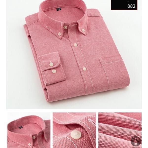 オックスフォードシャツ 長袖 メンズ ボタンダウンシャツ リネンシャツ 長袖シャツ 長袖 シャツ 無地 メンズ 代引不可|goodplus|10