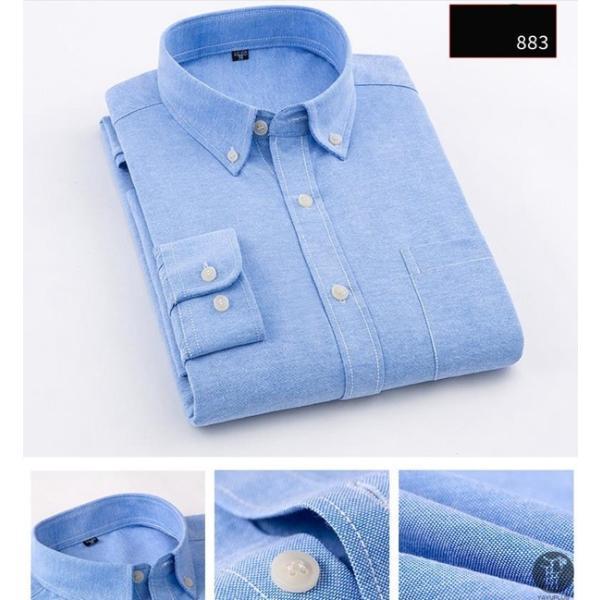 オックスフォードシャツ 長袖 メンズ ボタンダウンシャツ リネンシャツ 長袖シャツ 長袖 シャツ 無地 メンズ 代引不可|goodplus|11
