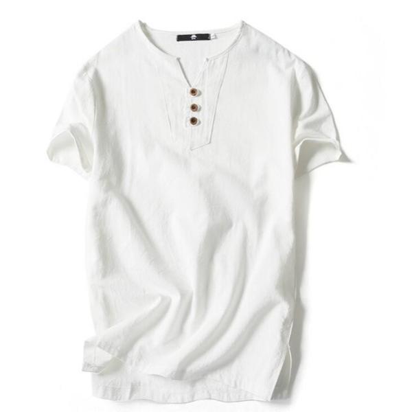 Tシャツ メンズ Vネック 半袖 カットソー 無地 Tee トップス カジュアル 涼しい リネン 麻 カジュアルシャツ 綿麻 夏 部分当日発送 代引不可|goodplus|12