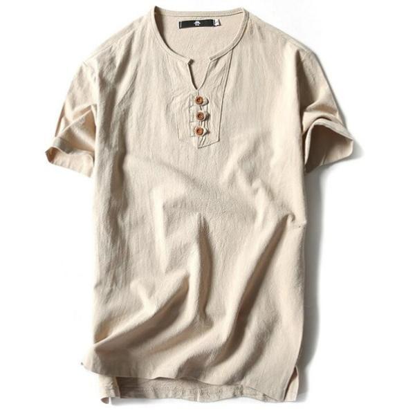 Tシャツ メンズ Vネック 半袖 カットソー 無地 Tee トップス カジュアル 涼しい リネン 麻 カジュアルシャツ 綿麻 夏 部分当日発送 代引不可|goodplus|13
