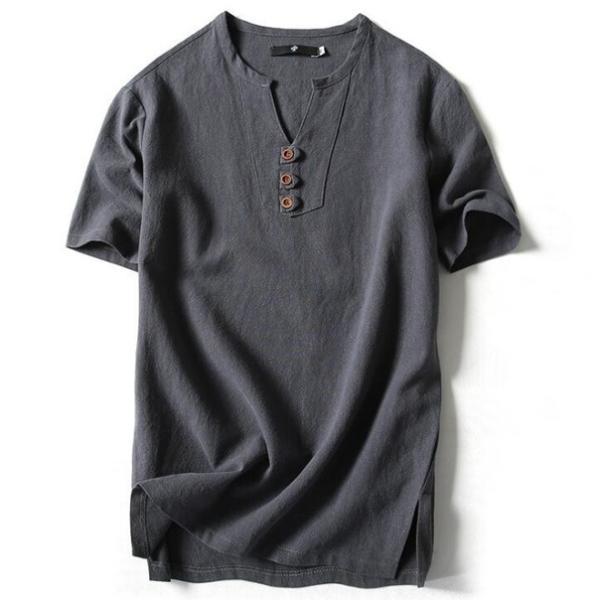 Tシャツ メンズ Vネック 半袖 カットソー 無地 Tee トップス カジュアル 涼しい リネン 麻 カジュアルシャツ 綿麻 夏 部分当日発送 代引不可|goodplus|14