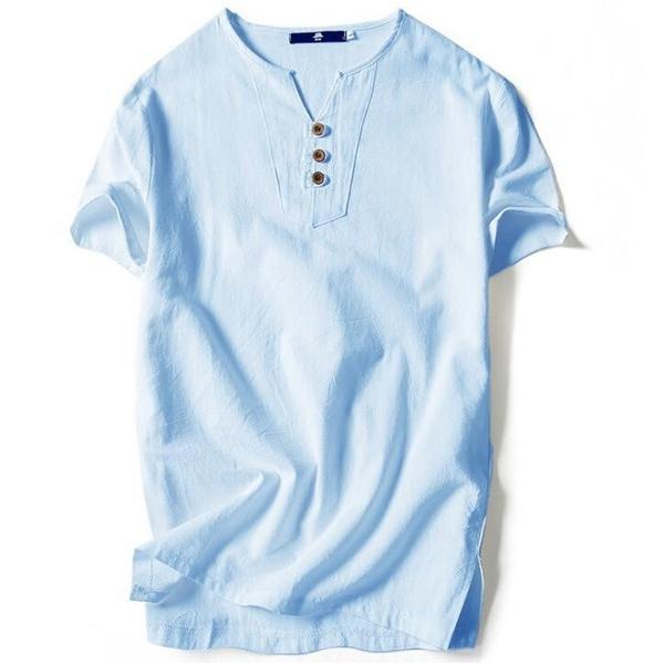 Tシャツ メンズ Vネック 半袖 カットソー 無地 Tee トップス カジュアル 涼しい リネン 麻 カジュアルシャツ 綿麻 夏 部分当日発送 代引不可|goodplus|16