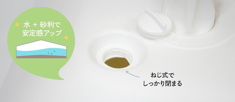 注水タンクは水と砂利を一緒に入れて安定感アップ