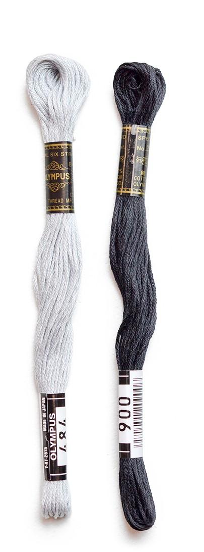 白黒系刺しゅう糸