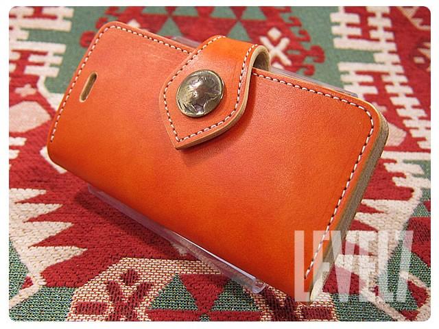 Lv7 LEVEL SEVEN/レベルセブン iphone6/iphone6sケース/アイフォン6/6S 手帳型ケース 日本製/MADE IN JAPAN ハンドメイド オレンジ